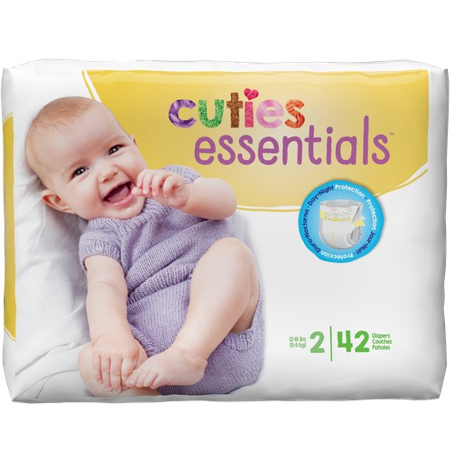 168 diapers Cuties Baby Diapers Pack of 4 Size 2 42-Count